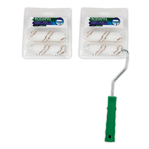 Blister Mini rodillo microfibra raya marrón 11 cm